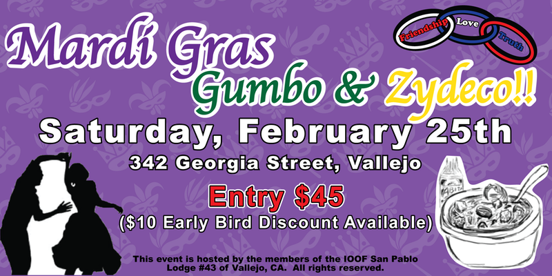 Odd Fellows Mardi Gras Gumbo & Zydeco Celebration